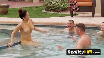 Swinger ginger Pool party with horny hot redhead