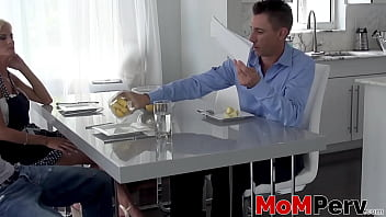 Blonde MILF sucks her stepsons dick in front of her husband