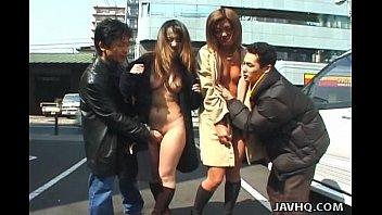 Two wild Asian girls walking naked in public
