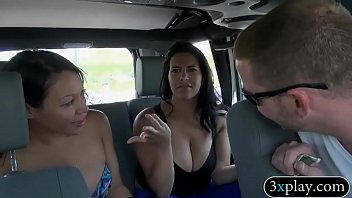 Women flashing their tits in public Two sexy women show off their big boobs