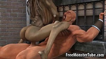 3D cartoon alie n babe riding a stud's coc  stud's cock outdoors