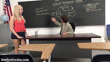 Hot lesbean teacher sex - Hot blonde schoolgirl sucks and fucks her teacher