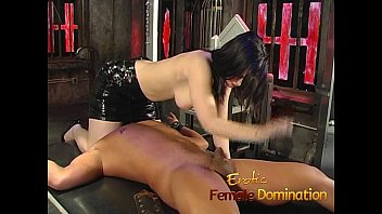Curvaceous brunette bimbo ties up her man and has some kinky fun