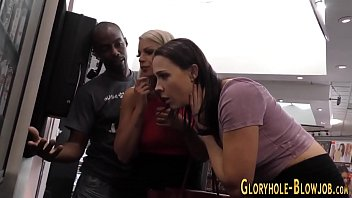 Babes in gloryhole 3way suck and tug bbc