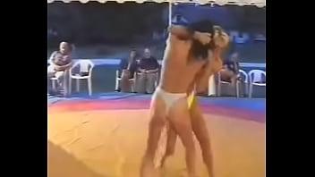 Blonde vs brunette topless catfight 03