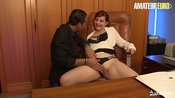 AMATEUR EURO - Big Ass Redhead Amateur Babe Has Interracial Sex At The Office - Lola Soums