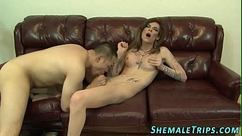 Tranny cums in guys mouth