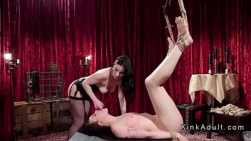 Mistress fucks butt plugged slave
