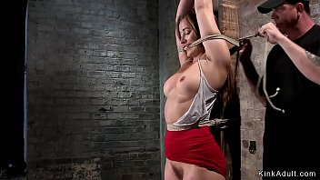 Babe whipped in upside down hogtie