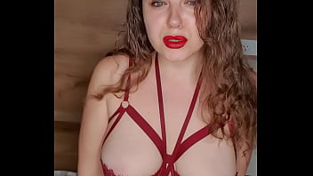 Busty Girl Plays with Oil and Sucks Dildo