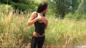 German Hotty appointed as a street cutie masturbates outdoor Thumb