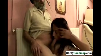 Handicap gets some horny action with an old guy who takes advantage of her