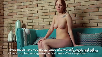 Redhead virgin Maria Stupors shows hymen in closeup