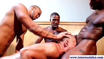 Free gay interacial gangbang videos - Three ebony dudes fucking asian dude