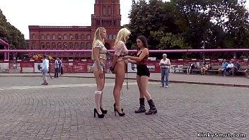 Hot blonde sluts disgraced in public outdoor