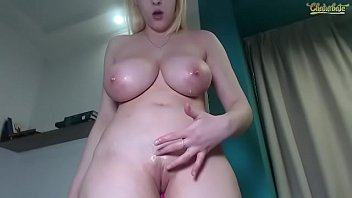 Blonde girl aveksmr has fun spitting all over her tits while masturbating
