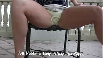 Weting my panties tickling bladder pee - Candi apple full bladder white panty wetting