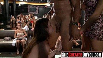 22 Rich milfs blowing strippers at underground cfnm party!14