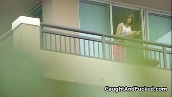 Caught big tit teen fucked on the balcony