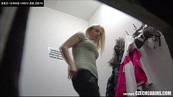 Underwear lingerie shop Young blonde girl cought on security camera