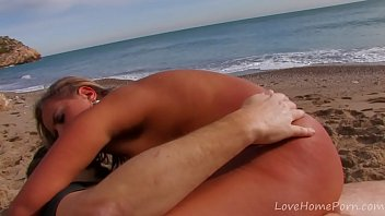 Petite Blonde Rides Cock On The Beach