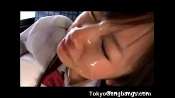 Two Japanese Girls Forced Cumshot in Bus