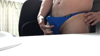 The covered cock ejaculation after masturbation.