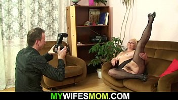 Hairy blonde mommy nasty photosession and taboo sex