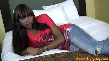 Ebony teen slut rides dick