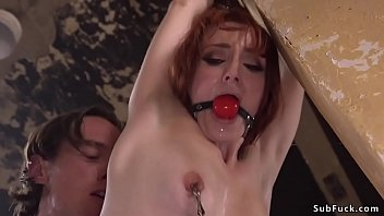 Redhead sub takes huge dick up her ass