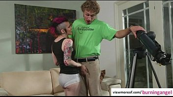 Tattooed emo slut Rizzo Ford curios of ASStronomy and gets fucked and facial Thumb
