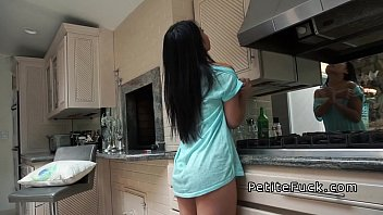 Asian with no pride - Petite asian without panties banging in kitchen