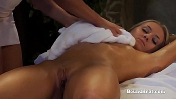 Bondage table massage Disappeared on arrival 2: lesbian blonde in handcuffs massaged by dominant maid