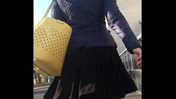 Upskirt in black stockings