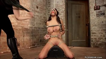 Lesbian dom toys slave in suspension