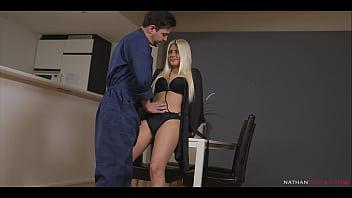 Stranded petite slut Jessie Volt exchange hard anal sex against hung locksmith opening her door - 4K