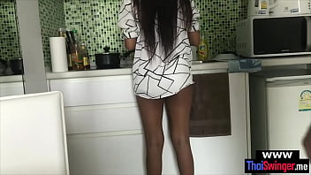 My new Thailand wife was horny while doing the dishes