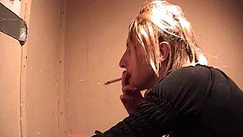 Marie Madison Smokes and Sucks in Public Elevator