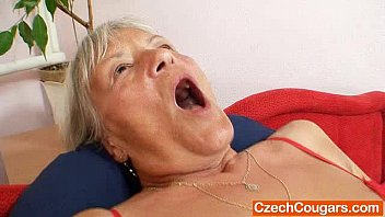 Ugly grandmother Cecilie toys her  unshaven cunny pornhub video