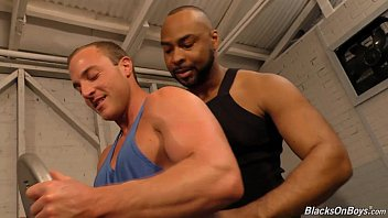 Gay interacial personals - Muscular white guy goes black in a gym