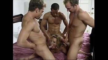 Blonde & 3 cocks