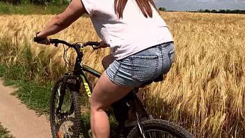 Ride bicycles to nature and I fucked her doggy style