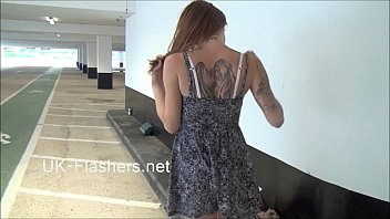Exhibitionist madster Paige Fox flashes carparks and pleasures herself nude in p