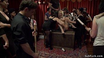 Mistress fucks busty slave in public