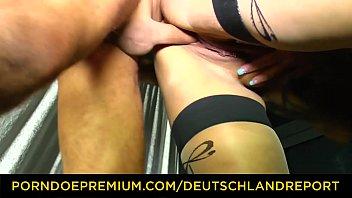DEUTSCHLAND REPORT - Tattooed redhead in her 40s sucks dick and rides it for amateur German porn Vorschaubild
