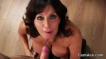 Naughty looker gets sperm load on her face swallowing all the semen
