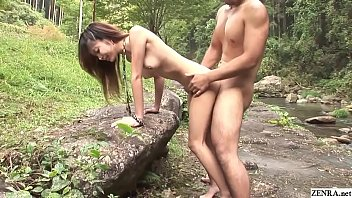Uncensored Japanese blowjob and raw sex filmed in nature