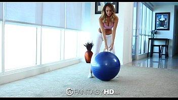 FantasyHD - Hot Teen Alexis Adams does yoga in see through yoga pants