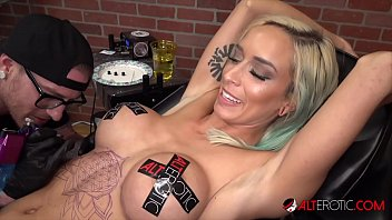 Busty blonde Vanessa Sky gets tattooed then fucked