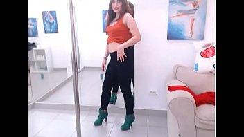 LittleTeenBB Riley sexy pole dance in heels, strips topless